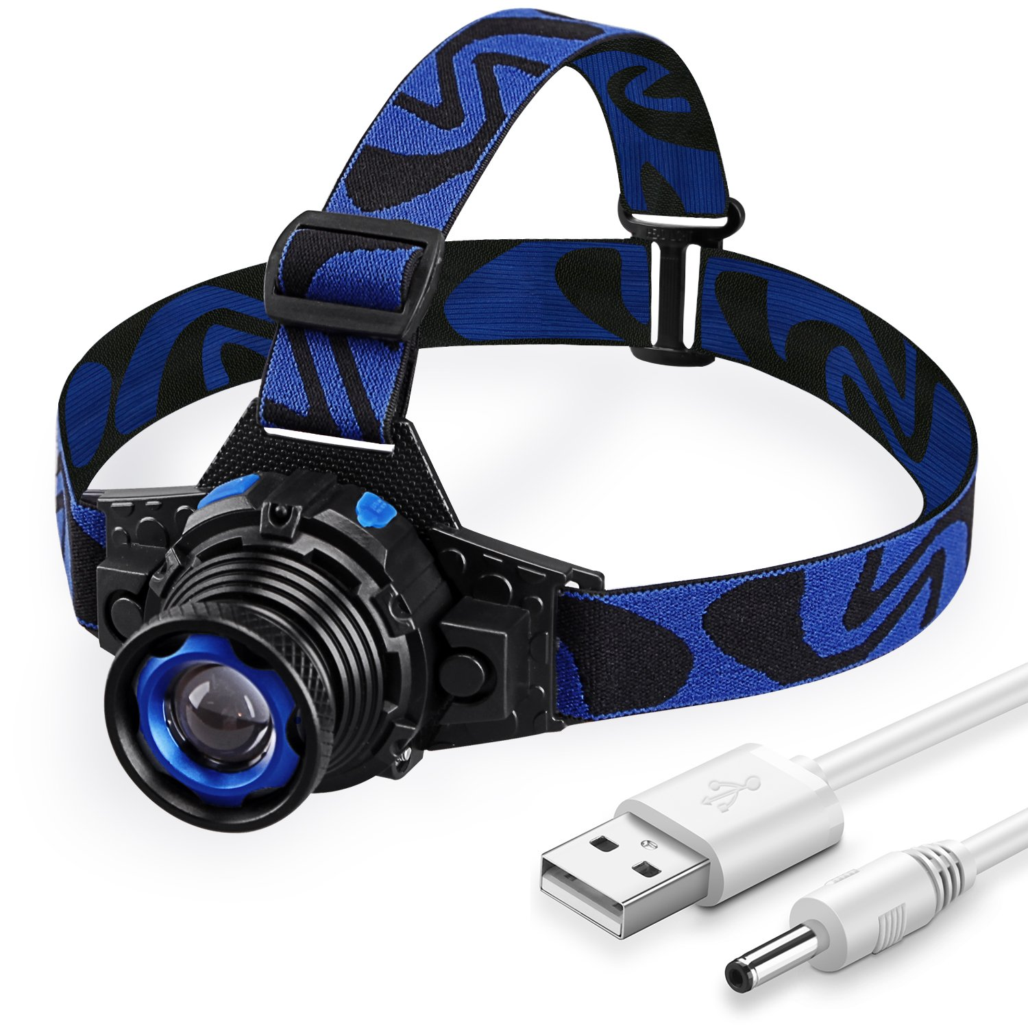 LED Headlamp Rechargeable via USB, Bright Head Light LED Zoomable 3 Modes, Adjustable and Waterproof Flashlight, Blue