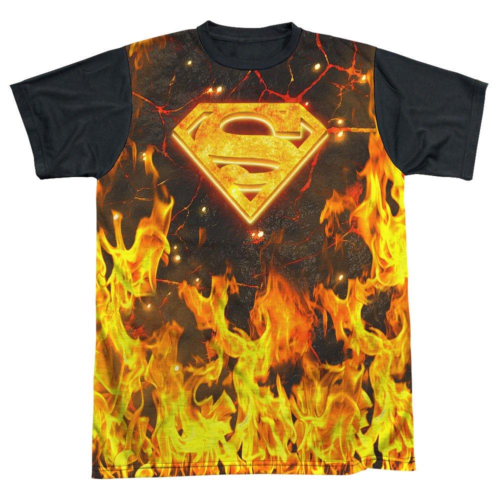 Superman DC Comics Superhero Fire /& Magma S Shield Logo Adult Black Back T-Shirt