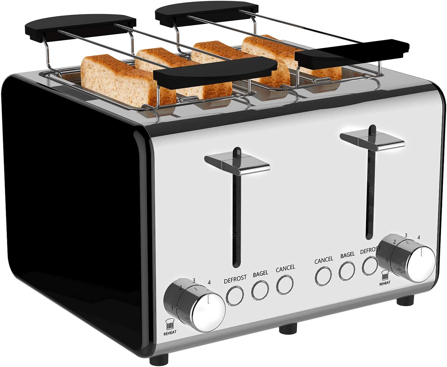 Toaster 4 slice,Extra-Wide Slot Toaster,6 Bread Shade Settings,Stainless Steel Toaster with Bagel,Reheat,Cancel, Defrost Function,Removable Crumb Tray (toaster 4 slice black)
