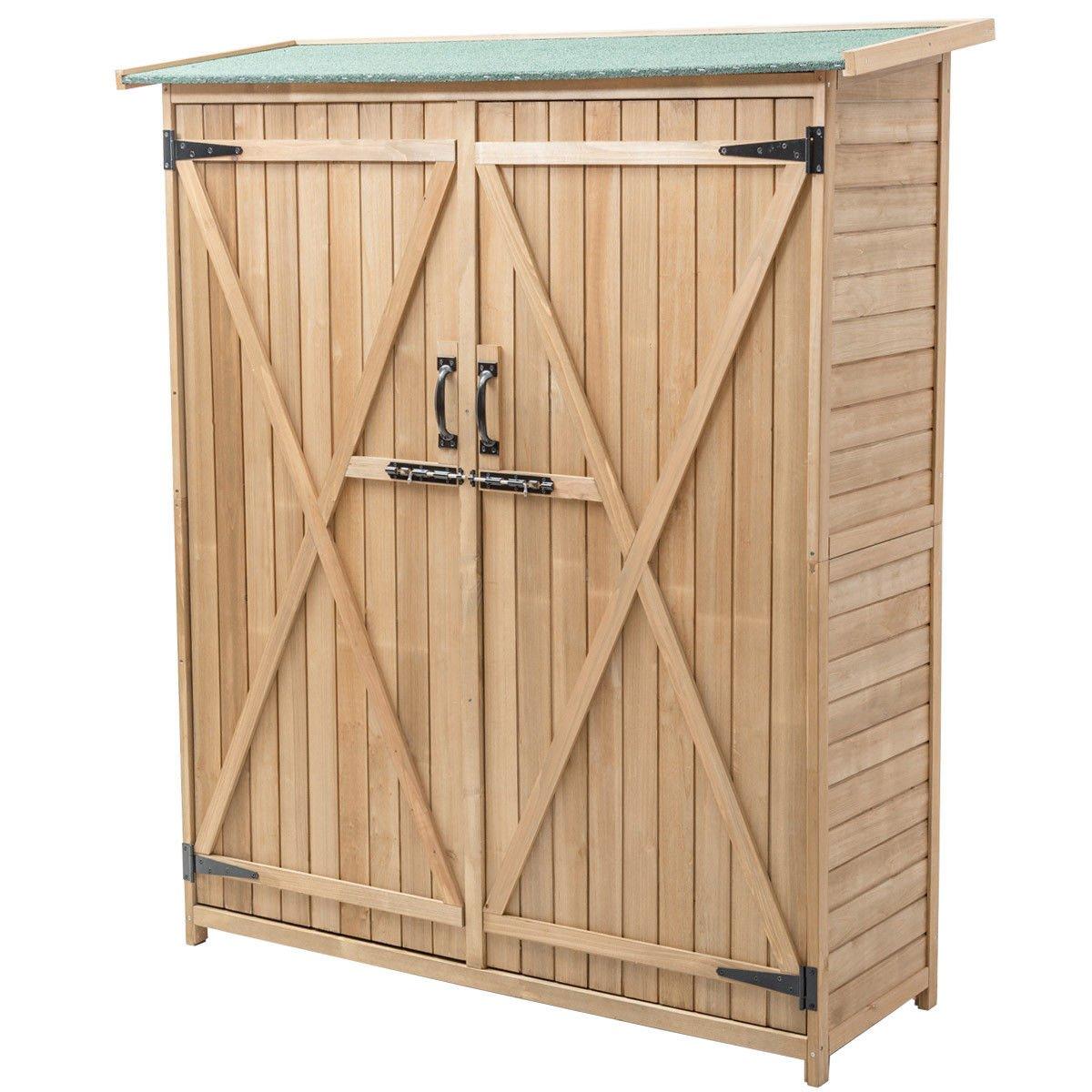 Wooden Storage Shed Cabinet Garden Outdoor Fir Wood Lockers Double Doors 64''