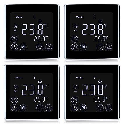 4 x FLOUREON – Termostato byc17.GH3 Termostato pantalla LCD con luz de fondo blanca