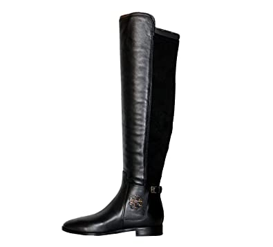 50c1a174587 Amazon.com  Tory Burch Wyatt Over The Knee Leather Fabric Women s Boots  Shoes Perfect Black (7.5)  Shoes