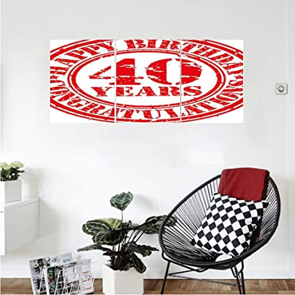 Liguo88 Custom Canvas 40th Birthday Decorations Dated Rubber Stamp With Number Forty Congratulation Grungy Look Wall