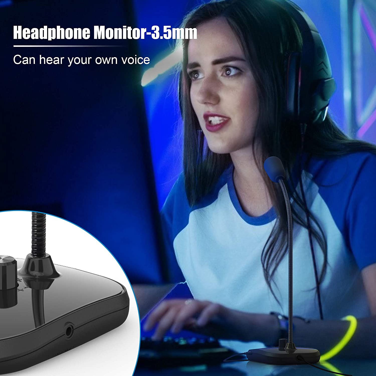 Laptop PC zoom Mac, Windows LED Indicator Streaming USB Desktop Microphone online class Plug/&Play for Computer Mac Recording Condenser PC Mic with Headphone Jack PS4 Voice Video Conference