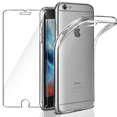watch 3d815 1f29d AROYI Case iPhone 6 Cover Clear & iPhone 6S Glass Film iPhone 6 Case Soft  Siliocne Crystal Transparent Flexible TPU and Tempered Glass Screen ...