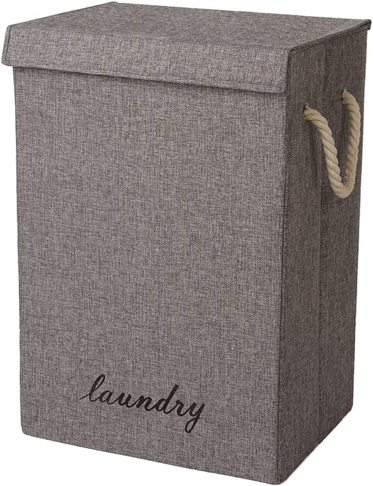 COUNER Large Laundry Hamper with Lid, Laundry Basket with Handles Foldable Hampers for Laundry , Dirty Clothes Hamper Easily Storage for Bedroom, Bathroom, Living Room, College Dorm, Grey