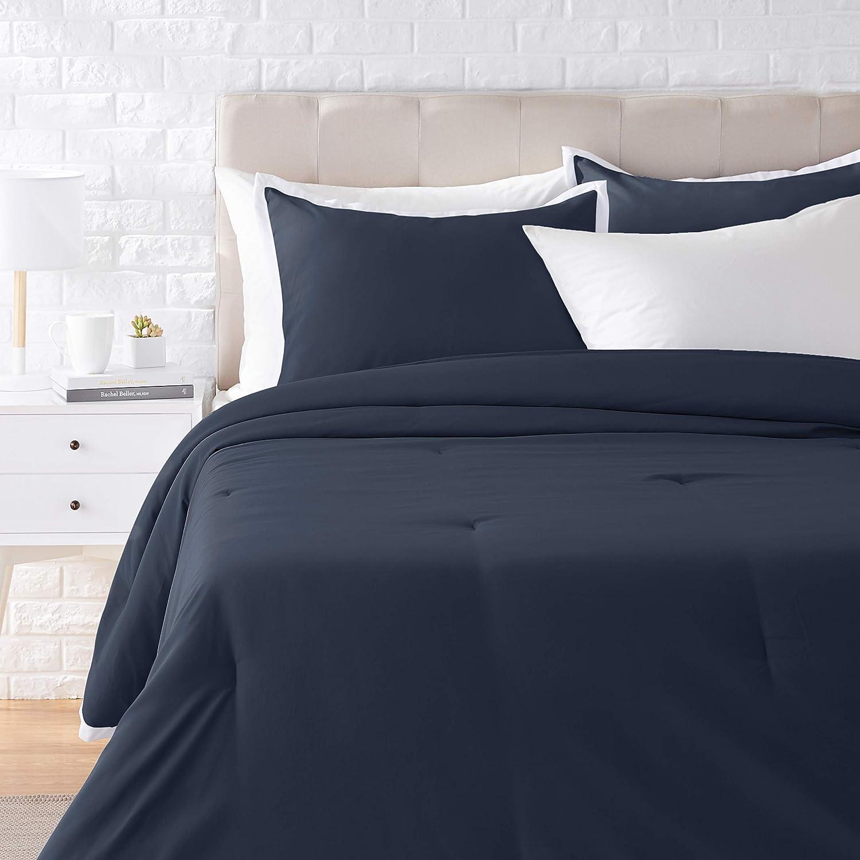 AmazonBasics Contrast Trim Comforter Set - Premium, Soft, Easy-Wash Microfiber - Full/Queen, Navy with White Trim