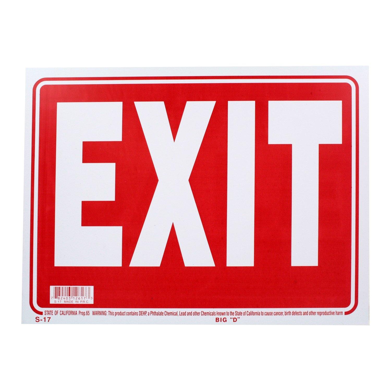 Pack of 3 Exit Bazic Piccolo cartello di uscita 22,9 x 30,5 cm