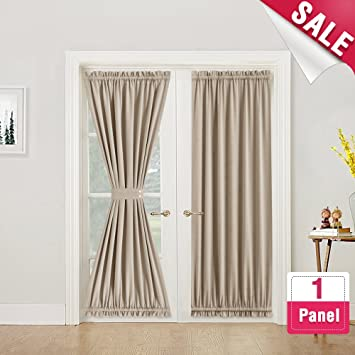 Blackout French Door Curtain Panel 72 Inches Long Curtains Thermal Insulated 1 Room