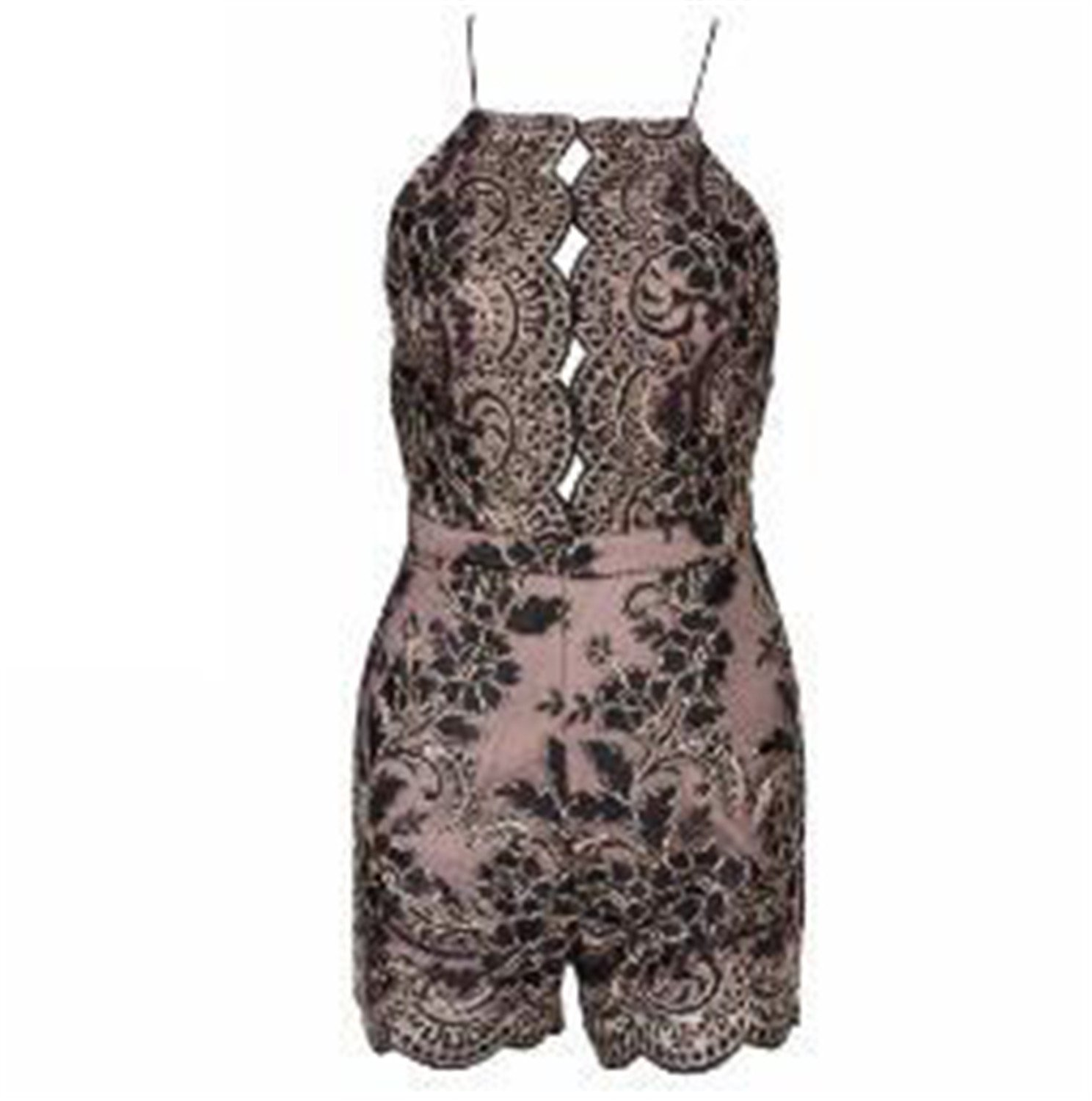 Ygosoon Lace Halter Playsuit Gold/Black/red TB 10008 Black L
