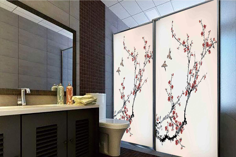 Horrisophie dodo 接着剤不使用 静電気でくっつくガラスステッカー 家の装飾 花咲く桜の木 枝 日本スタイル クラシック 芸術的イラスト ピーチホワイト 高さ35.43インチ×幅23.62インチ 自宅&オフィス用 70.86