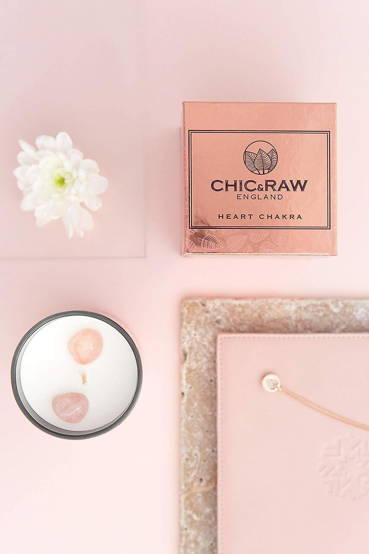 t/é Blanco y aceites Esenciales de Jengibre 2 Piedras de Cuarzo Rosa Puro Chic /& Raw Vela perfumada en Oro Rosa Caja de Regalo Cera de Soja Natural