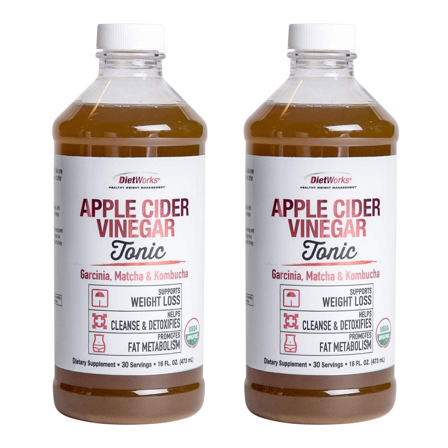 Dietworks Apple Cider Vinegar Liquid Tonic with Garcinia, Match and Kombucha - Natural Cleanse & Detox -16 fl oz each (Pack of 2)