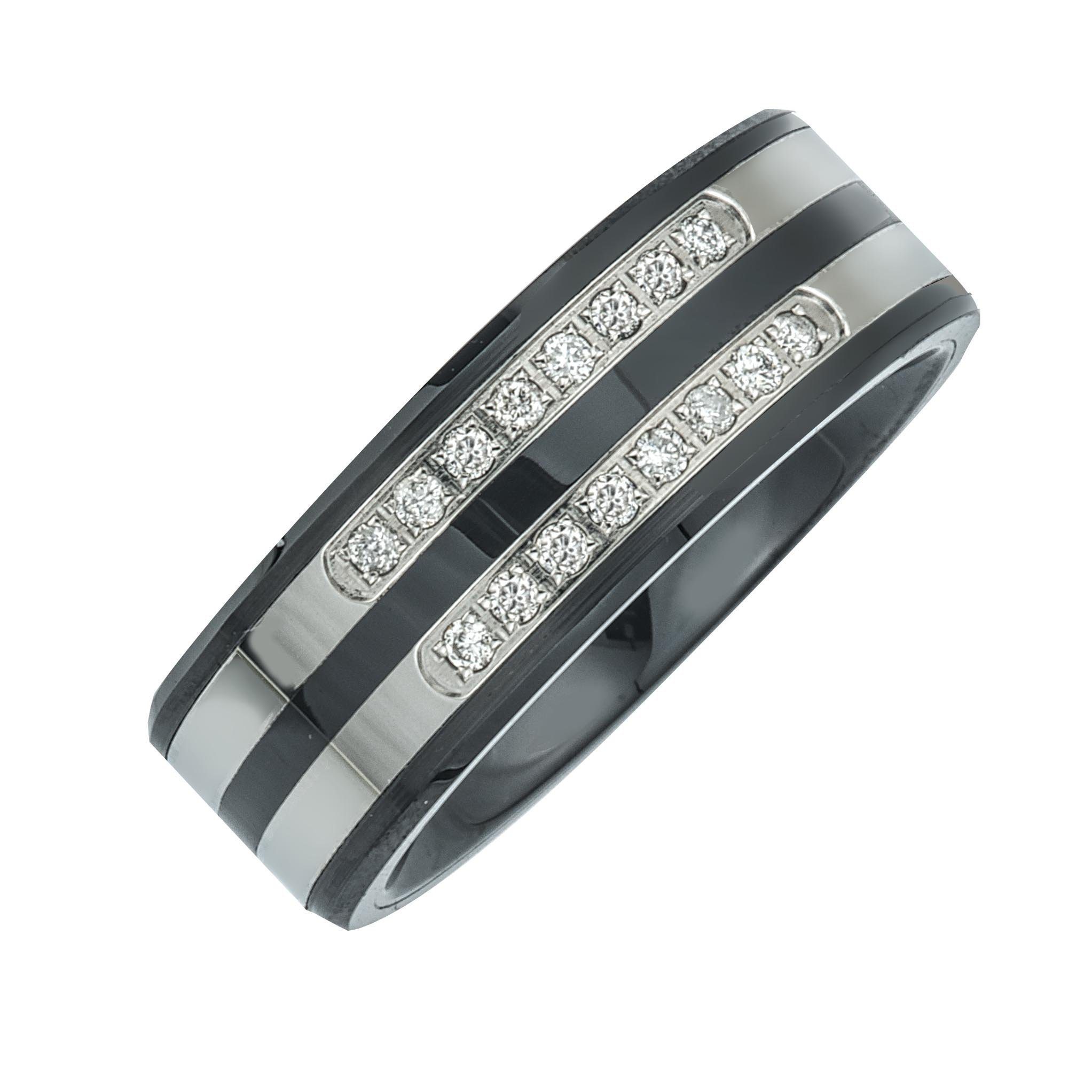 Mens Diamond Double Row Band in Ceramic and Stainless Steel (0.20 carats, H-I I3)