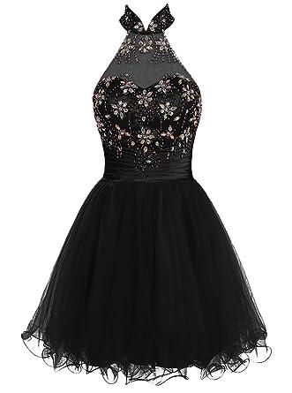 ALAGIRLS Short Beaded Prom Dress Halter Tulle Evening Dress Black 6
