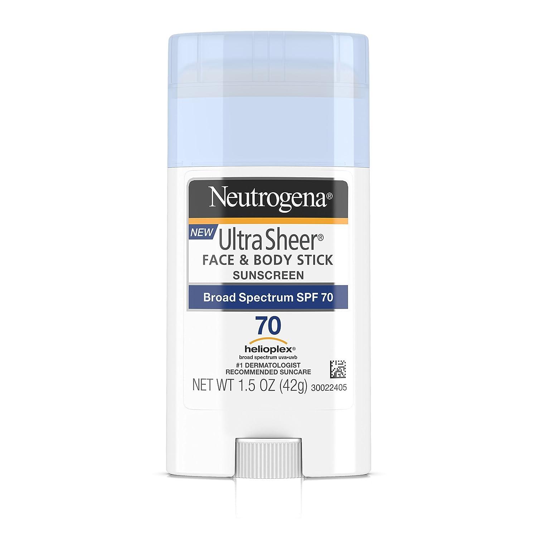 Neutrogena Ultra Sheer Non-Greasy Sunscreen Stick for Face & Body, Broad Spectrum SPF 70, 1.5 oz Johnson & Johnson SLC JJ-2221