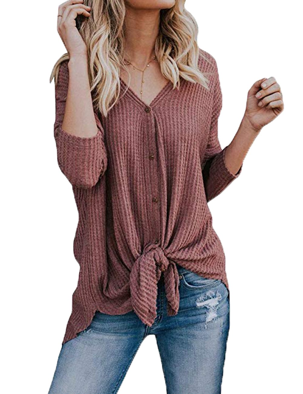 VYNCS Women's Casual Button Down Loose Tie Knot Knit Sweaters Shirts Henley Long Sleeve V Neck Tunic Blouse Tops (Red, Large)