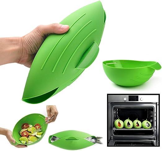 Silicona para cocinar al vapor, food vegetable eléctrica cocinar pescado silicona bowl  sin BPA microondas cooking  fácil Pod por Cestari cocina (verde): Amazon.es: Hogar