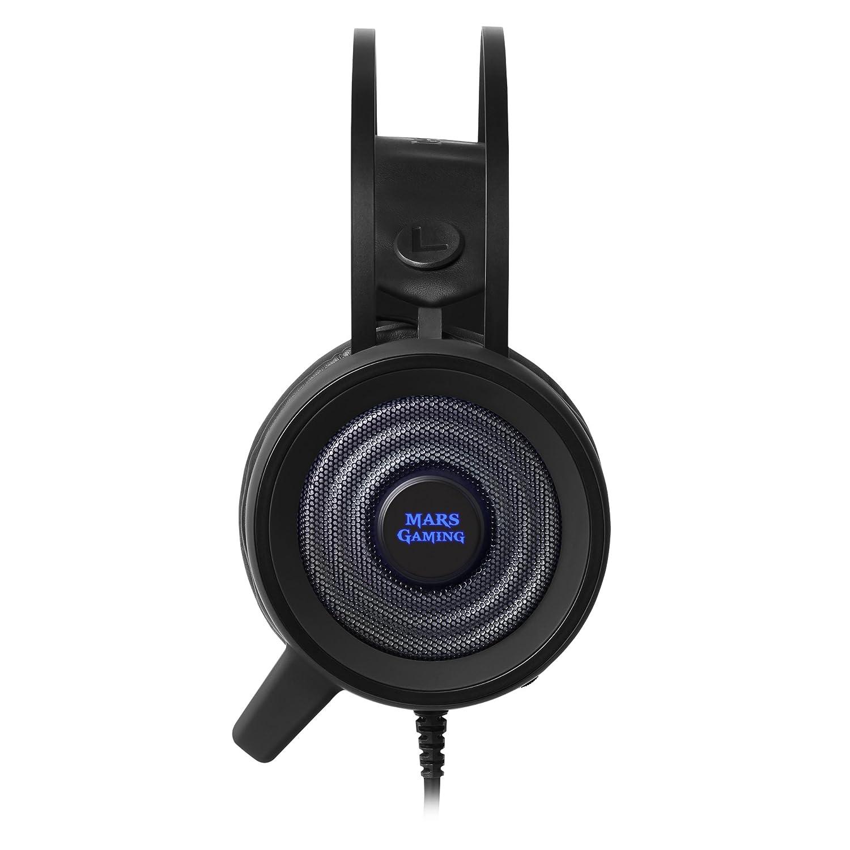 Mars Gaming MH318 - Auriculares Gaming (Surround 7.1, iluminación RGB Flow, Diadema de suspensión, Drivers neodimio 50mm, tecnología SENSUS, micrófono de ...