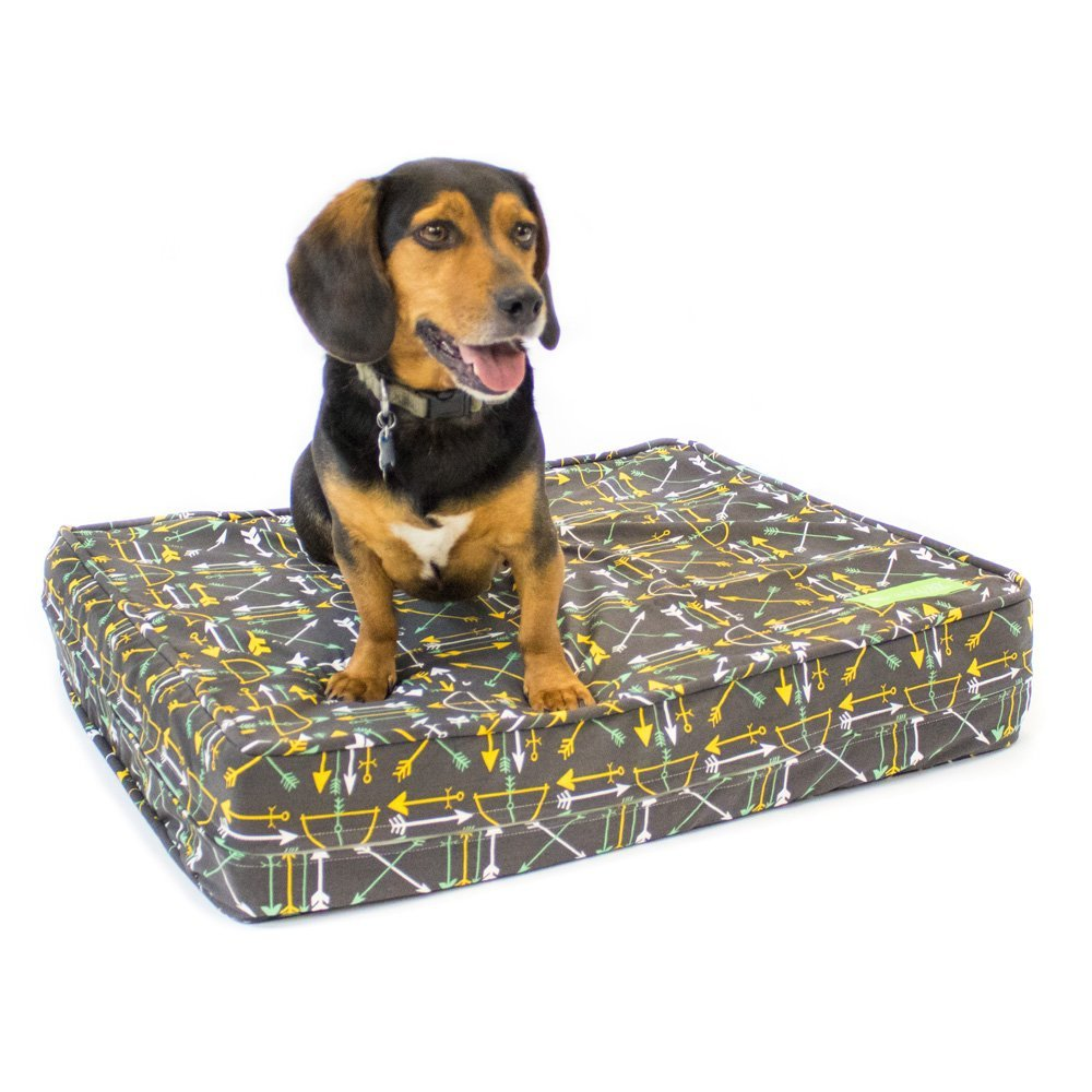 50%OFF Dog Bed - Charcoal Arrows   Orthopedic Gel Memory Foam - Made in the USA   Durable 100% Cotton Canvas Cover   Waterproof Encasement   Machine Washable   Small, Medium & Large Dogs