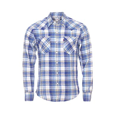 8b550c5d84 Levi s Mens Mens Barstow Western Shirt in Blue - S  Levis  Amazon.co ...