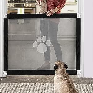 JAUTO - Barrera de seguridad para escaleras, para puertas y escaleras, 100 cm de altura, 80 cm de altura, persiana enrollable para puertas y puertas, para bebés, perros y gatos: Amazon.es: Bebé