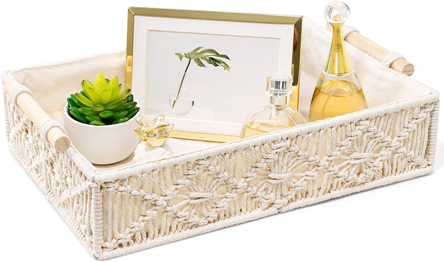 Mkono Macrame Decorative Tray Boho Home Decor Basket with Wooden Handles Handmade Woven Jewelry Perfume Makeup Storage Organizer for Vanity, Dresser, Countertop, Bedroom, Living Room, Ivory