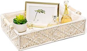 Mkono Macrame Decorative Tray Boho Home Decor Basket with Wooden Handles Handmade Woven Jewelry Perfume Makeup Storage Organizer for Vanity, Dresser, Countertop, Bedroom, Living Room, Ivory