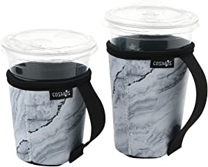 CM Reusable Coffee Cup Sleeve Iced Coffee Mug Sleeve Cover Neoprene Insulated Cold Beverage Sleeves Drink Holder with Handles for 16-24 OZ Coffee Cup Beverage Cup, 2 Pcs (Marble White Pattern (2 Pcs))