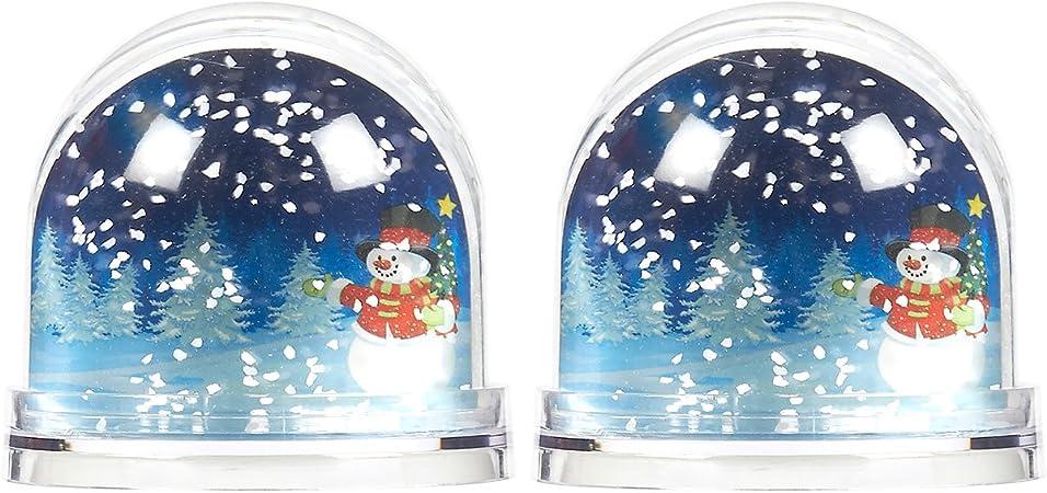 Juego de 2 Bolas de Navidad – DIY Bolas de Nieve de plástico para Navidad decoración, Fotos personales, Vintage Ambiente Festivo, Claro – 3,5 x 3,1 x 3,5 Pulgadas: Amazon.es: Hogar