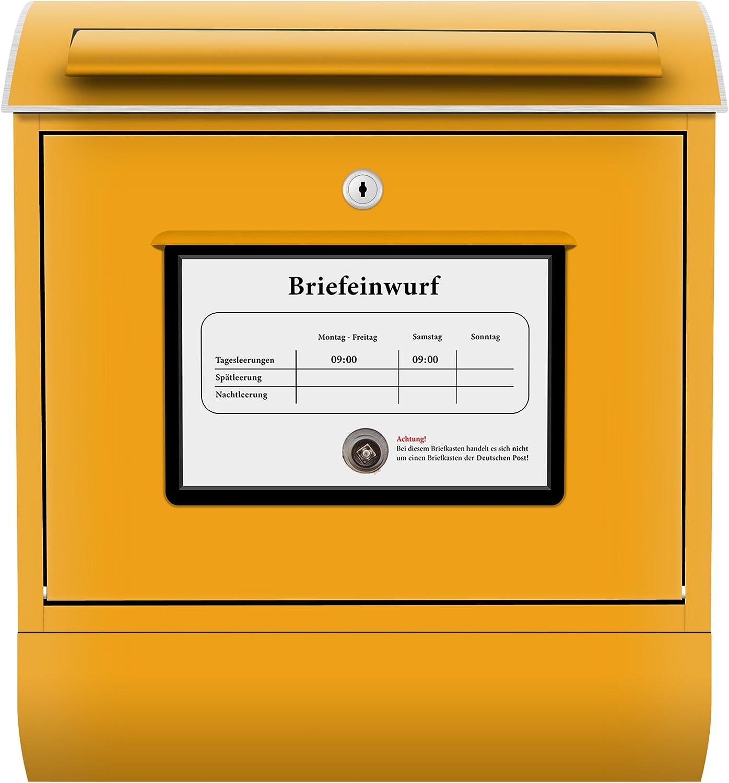 Wandbriefkasten Briefe Post P/äckchen Sendung Gelb Dekorfolie Postkasten mit Zeitungsrolle Mailbox Letterbox Design Briefkasten Postkasten Briefkastenanlage