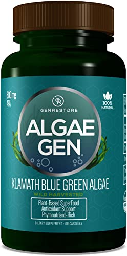 Gen Restore Natural AFA Stem Cell Celulas Madres Klamath Blue - Green Algae More Effective Than Spirulina or Chrlorella Phytonutrient- Rich, SuperFood 600mg Aphanizomenon Flos-Aquae
