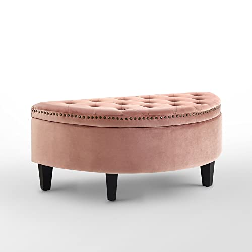 Inspired Home Jolie Blush Velvet Storage Ottoman – Half Moon Upholstered Button Tufted Nailhead Bedroom