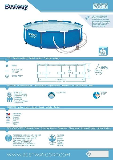 Bestway Steel Pro 56679 - Piscina (Piscina con Anillo Hinchable ...