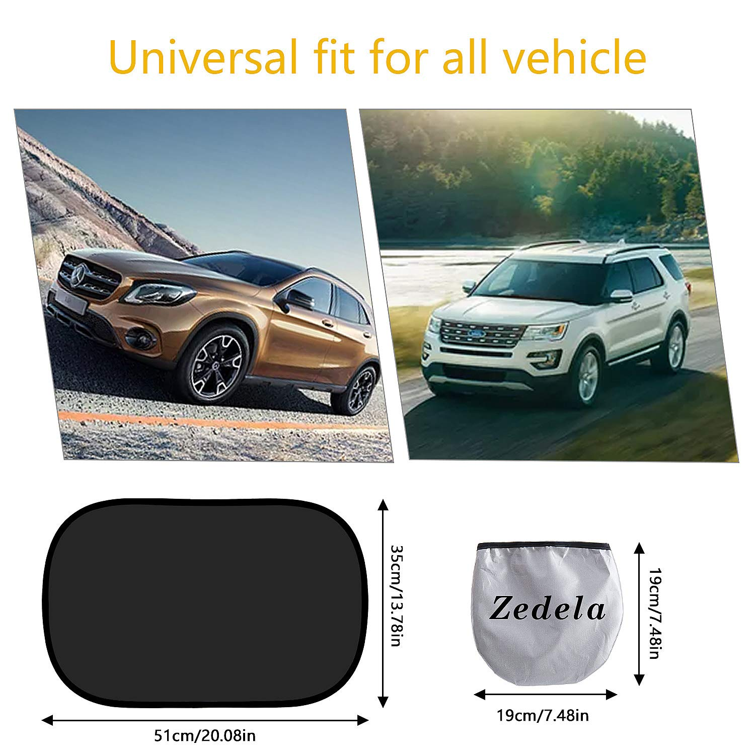 Car Sun Shade for Baby//Kids//Passengers 20x12 zedela Car Window Shade Black 2 Pack Car Shade Protector for Side//Rear Window-Blocks Over 99/% of UV Ray