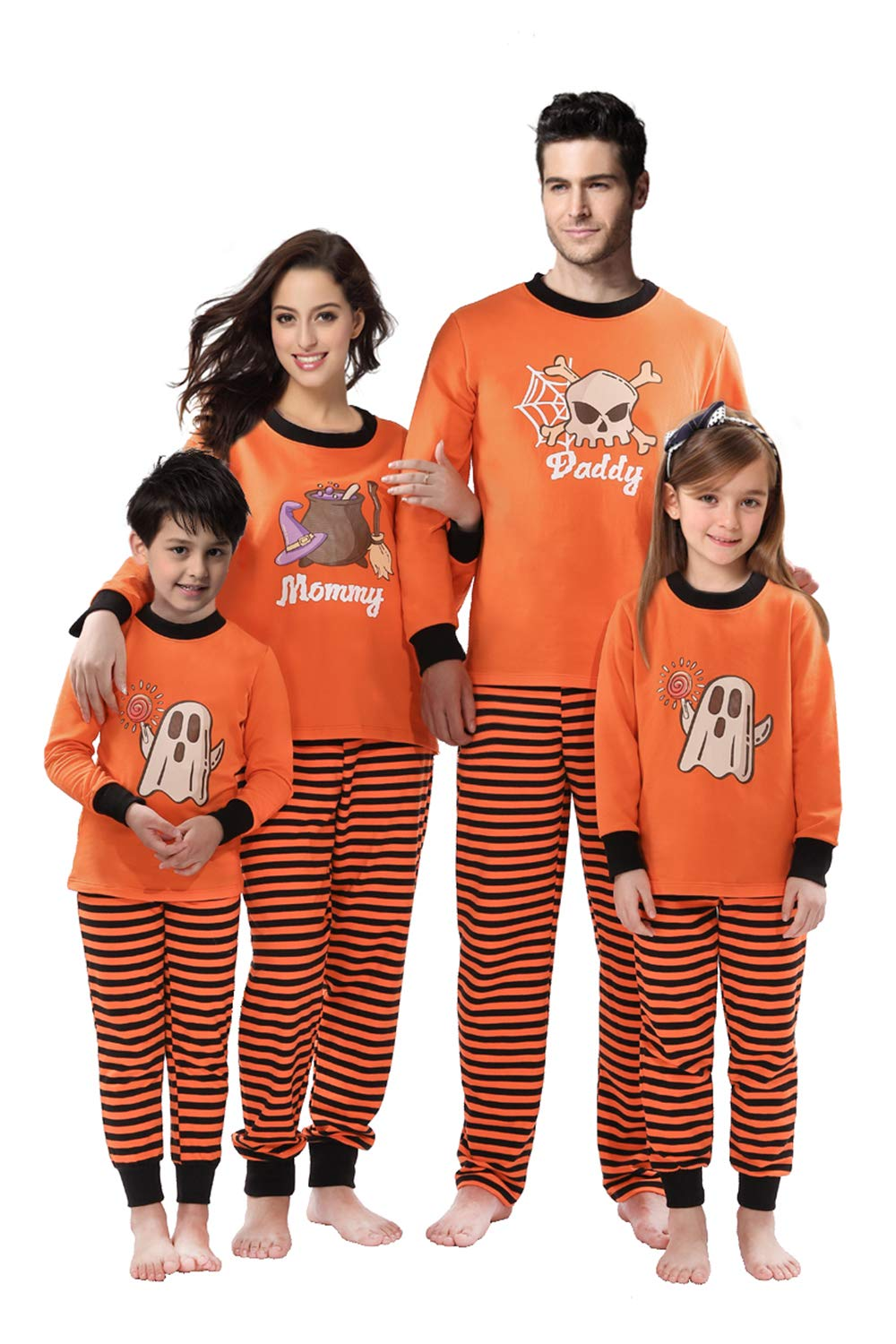 Rnxrbb Halloween Matching Family Pajamas Christmas PJs Set Xmas Sleepwear Cotton Stripe,Men,S