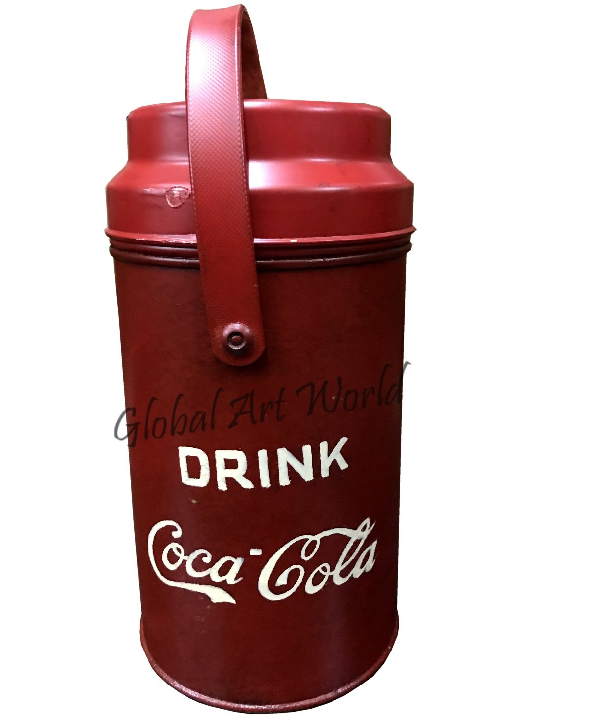 Global Art World Antique Old Collectible Portable Cylindrical Shape Carrier Coca Cola Drinks Metal Bottle Thermos With Logo Embossed HB 0169 by Global Art World (Image #1)