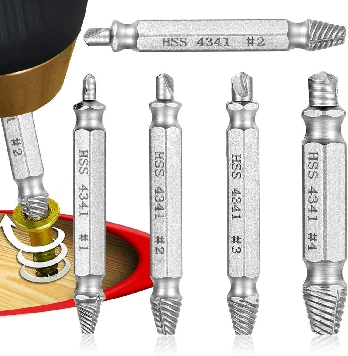 Qibaok extractor de tornillos velocidad de salida de 5 piezas de extractores de tornillos de perforación del taladro bits puestos de retirada de los tornillos rotos o dañados