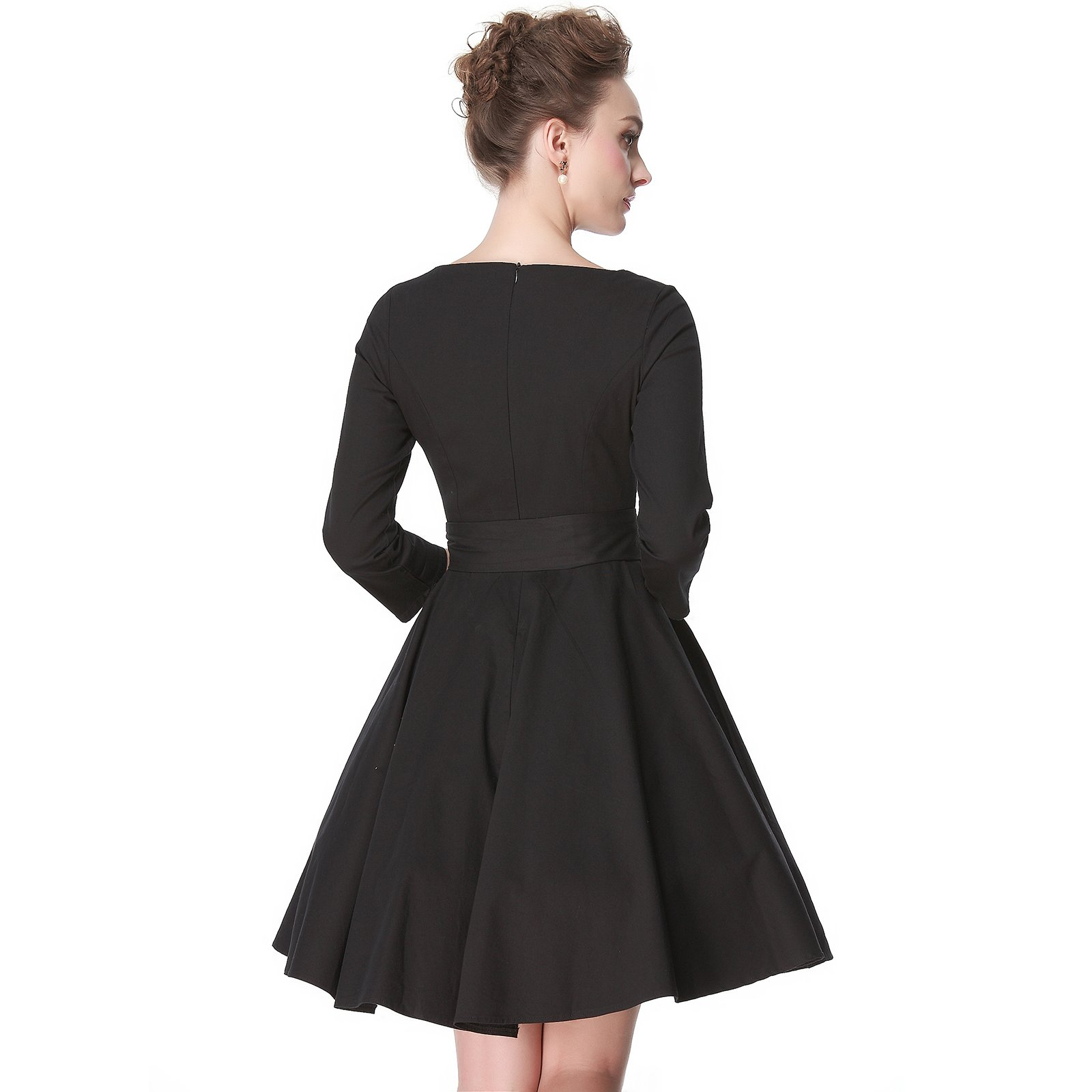 Heroecol 50s 60s Hepburn 3/4 Sleeve Style Vintage Retro Swing Rockailly Dresses Size XL Color Black by Heroecol (Image #2)