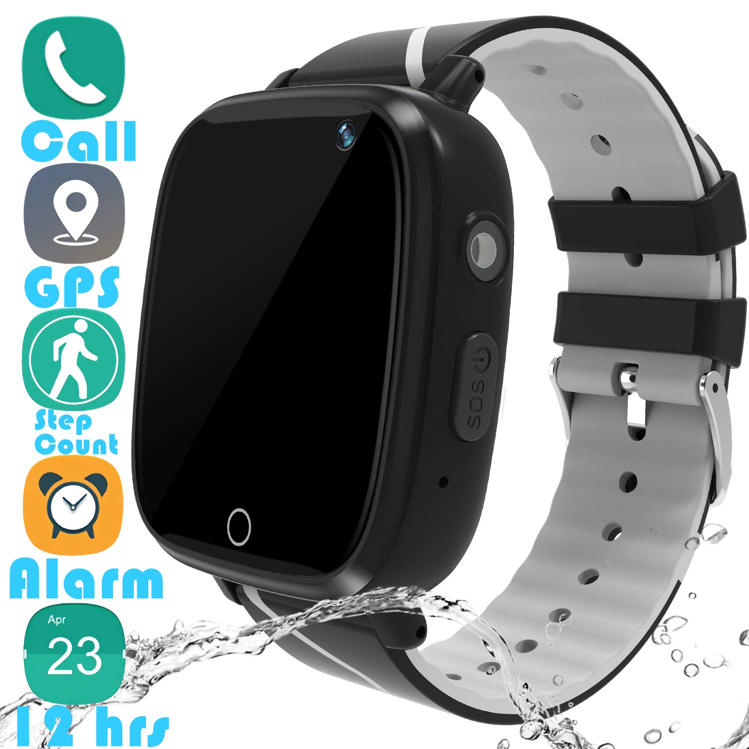 Kids Smartwatch GPS Tracker Gadget - 2019 Waterproof Children Smart Watches with 1.4'' Touch Screen 12 hrs SOS Phone Call Talkie Walkie Pedometer Fitness Sports Band for Boys Girls Age 4-12 (Black) by YENISEY