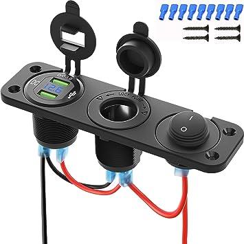 12V Socket Panel Outlet Fused Harness Blue Voltmeter Triple 3.1 A USB Charger