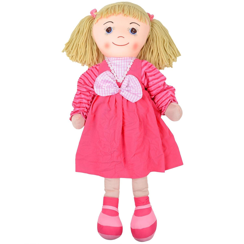 100cm Grand toucher doux Ragdoll Toy robe rose vichy Bow Blonde Fils cheveux
