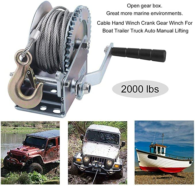 2000 lb Cable Hand Winch Boat-Truck-Car-Trailer-ATV