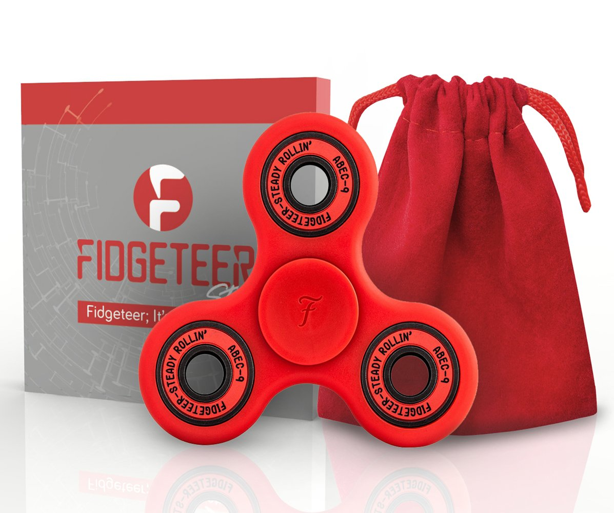 Fidget Spinner 3D Figit | Tri Spinners | Double Sided Figet Toy with Pouch and Warranty
