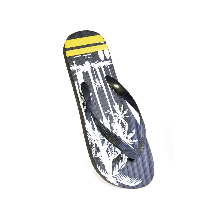 FLOSO Mens Stripe Palm Print Flip Flops