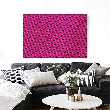 Amazoncom Hot Pink Canvas Print Wall Art Diagonal Lines Black