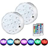 Submersible LED Lights, 12-LED RGB LED Light Remote Control Waterproof MultiColor Underwater Battery Operated Light for Fountain Pool Fish Tank and Aquarium