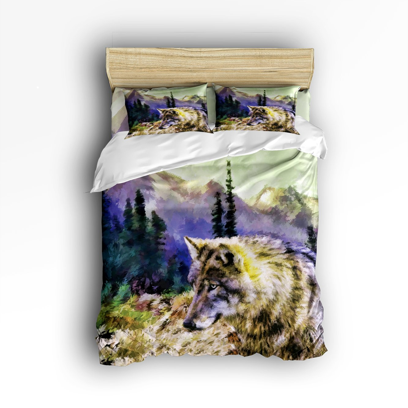 King Size 4 Piece Wolf Meditation With Forest Mountain Printed Home Comforter Bedding Sets Wrinkle Duvet Cover Sets Decoration for Childrens/Kids/Teens/Adults