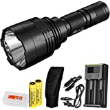 Nitecore P30 1000 Lumen Long Throw Flashlight with 2x Nitecore 3400 mAh 18650 batteries, i2 charger with car adapter and LumenTac Battery Organizer