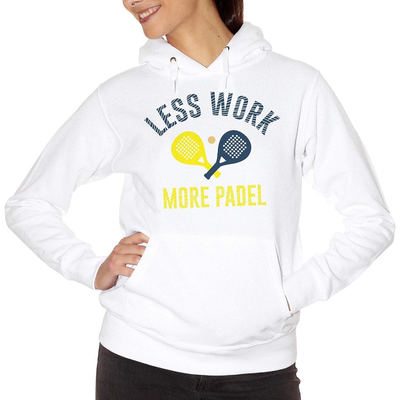CUC Less Work More Padel Sport - Sudadera Blanco Large: Amazon.es ...